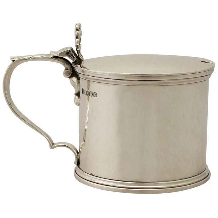 Antique George V Sterling Silver Mustard Pot For Sale