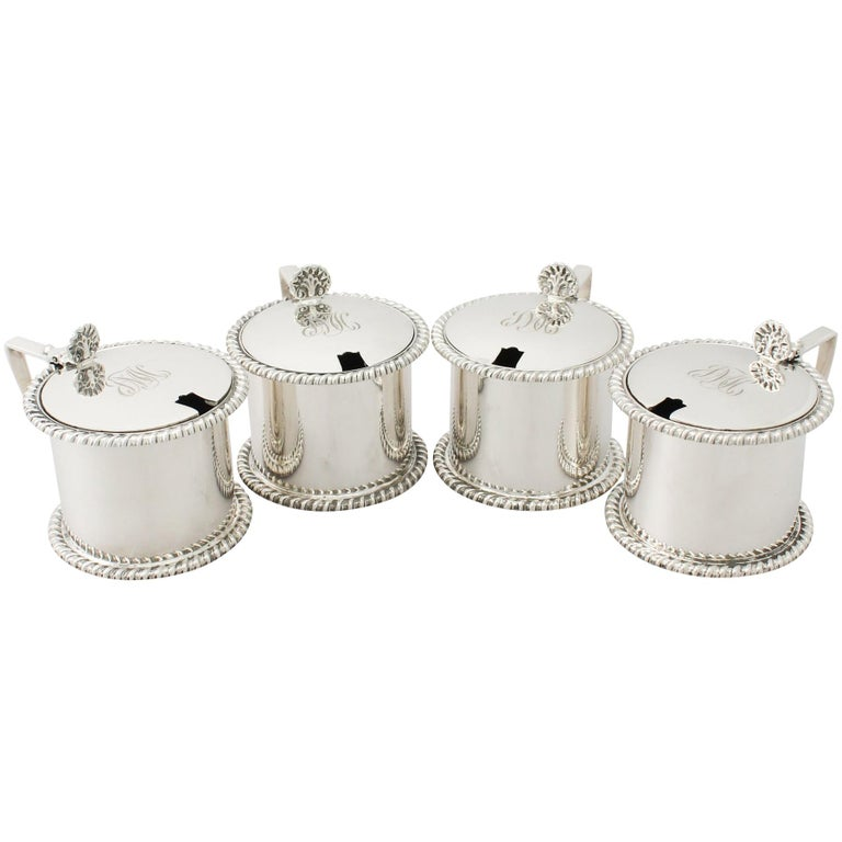 Antique George V Sterling Silver Mustard Pots by Goldsmiths & Silversmiths Co For Sale