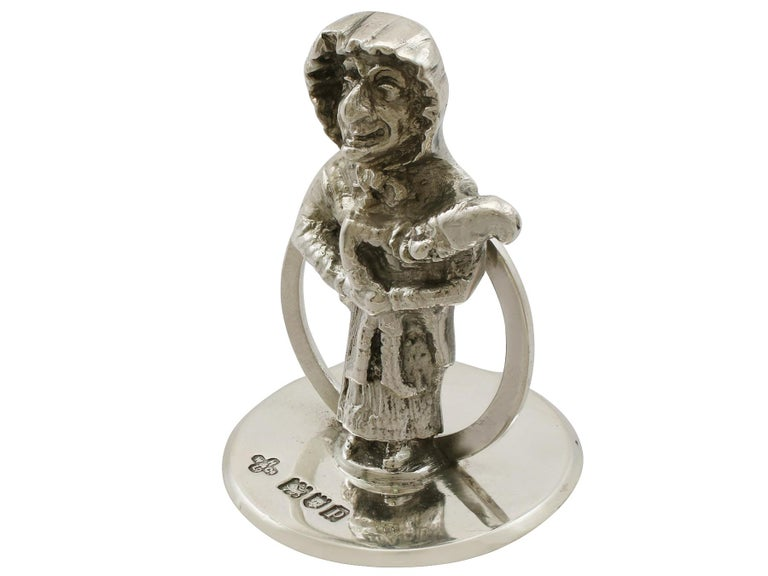 Early 20th Century Antique George V Sterling Silver 'Punch and Judy' Card/Menu Holders For Sale