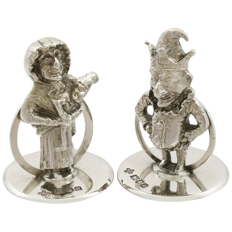 Antique George V Sterling Silver 'Punch and Judy' Card/Menu Holders For Sale