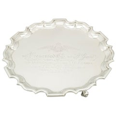Antique George V Sterling Silver Salver by Wakely & Wheeler