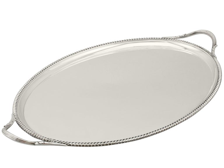 English Antique George V Sterling Silver Tray For Sale