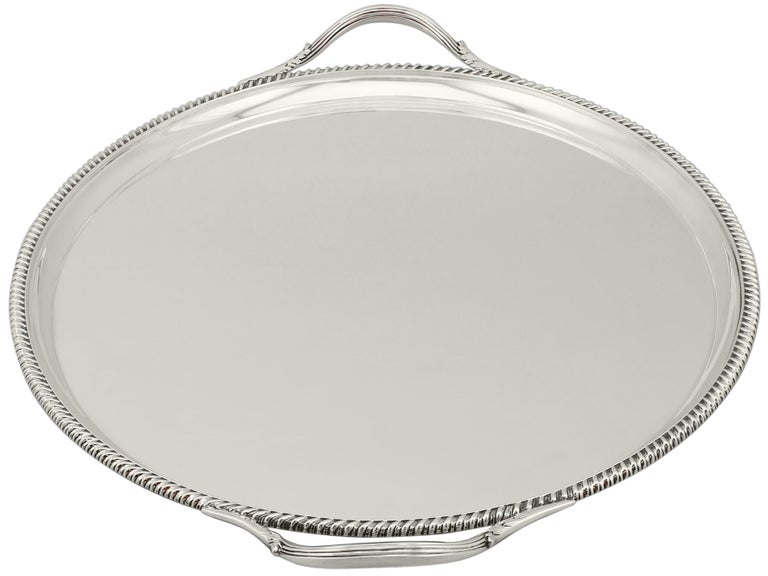 Antique George V Sterling Silver Tray In Excellent Condition For Sale In Jesmond, Newcastle Upon Tyne
