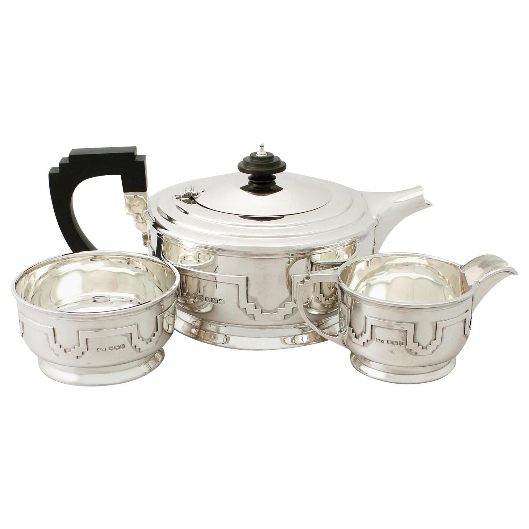 Antique George VI Art Deco Sterling Silver Three-Piece Tea Service