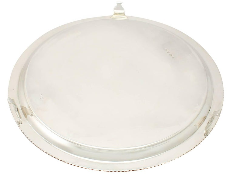 Antique George VI English Sterling Silver Presentation Salver For Sale 4