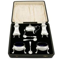 Antique George VI Sterling Silver Condiment Set, 1938