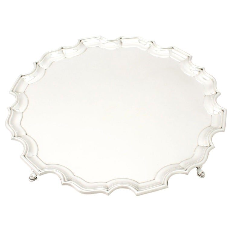 Antique George VI Sterling Silver Salver by Josiah Williams & Co For Sale
