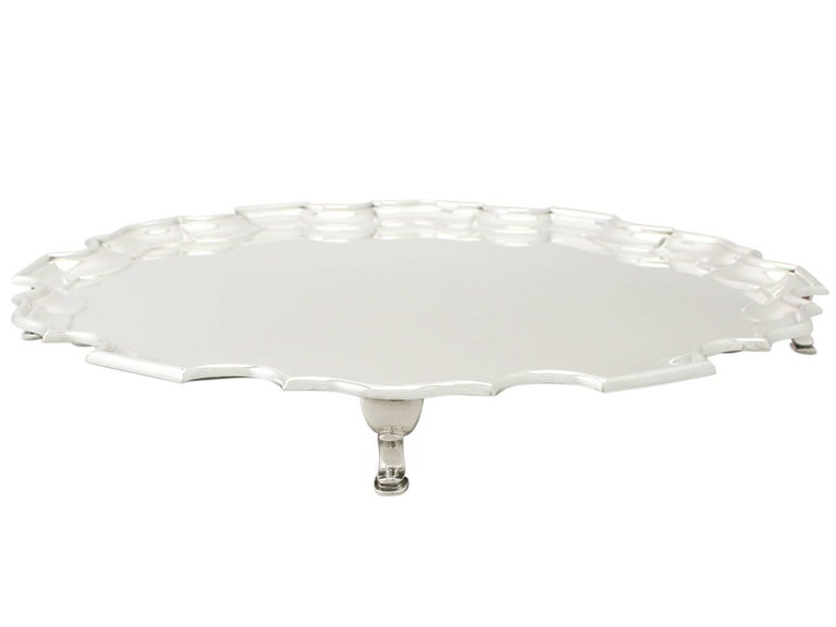 English Antique George VI Sterling Silver Salver by Josiah Williams & Co For Sale