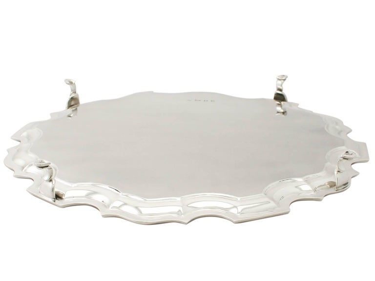 Antique George VI Sterling Silver Salver by Josiah Williams & Co For Sale 2