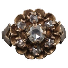 Antique Georgian 10 Karat Yellow and Rose Cut Diamond Cluster Ring