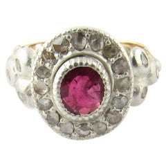 Antique Georgian 10 Karat Yellow Gold Rose Cut Diamond and Ruby Floral Ring