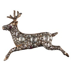 Antique Georgian 12 Karat Rose Gold Rose Cut Diamond Deer Pin