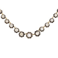 Antique  13.2 Carat Old Mine Cut Diamond Riviere Necklace