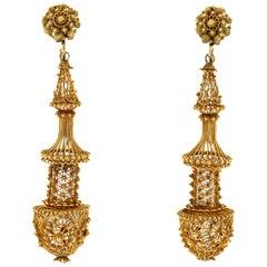 Antique Georgian 14 Karat Yellow Gold Cannetille Long Pendant Earrings