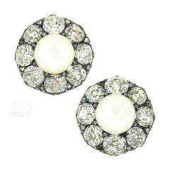 Antique Georgian 14k Gold GIA Natural Pearl 12.75ctw Mine Diamond Halo Earrings
