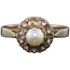 Antique Georgian 14 Karat Yellow Gold Pearl and Paste Cluster Ring