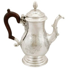 Antique Georgian 1740s Newcastle Sterling Silver Coffee Pot
