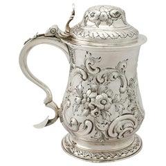 Antique Georgian 1770s English Sterling Silver Quart Tankard