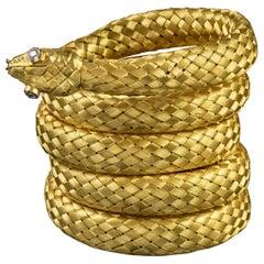 Antique Georgian 18 Carat Gold Coiled Diamond Snake Bangle, circa 1800