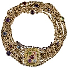 Antique Georgian 18 Carat Gold Gemstone Garland Bracelet, circa 1800