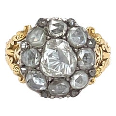 Antique Georgian 18 Karat Gold Rosecut Diamond Cluster Ring