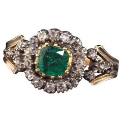 Antique Georgian 18 Karat Yellow Gold Rose Cut Diamond and Emerald Ring