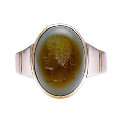 Antique, Georgian, 18ct Gold, French, Carved Intaglio Ring