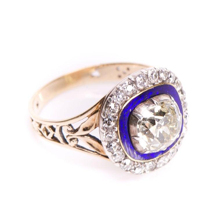 Cushion Cut Antique Georgian Diamond Enamel Cluster 18 Carat Yellow Gold Ring For Sale
