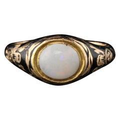 Antique Georgian 18 Karat Yellow Gold Opal and Black Enamel Signet Ring