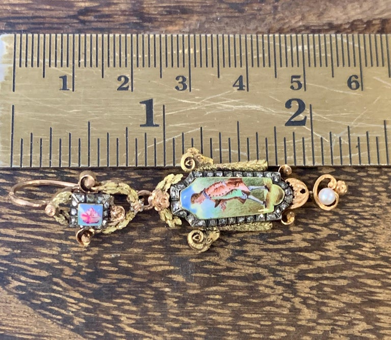 Antique Georgian 18Ky/r Diamond and Pearl Painted Portrait Earrings For Sale 1