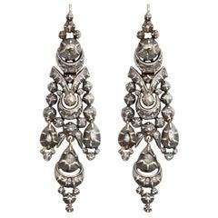 Antique Georgian 19th Century Portuguese Diamond Earrings