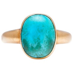 Antique, Georgian, 22 Carat Gold, Natural Turquoise Signet Ring