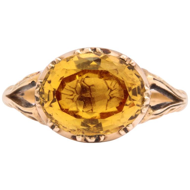Antique Georgian 4 Carat Topaz Ring For Sale