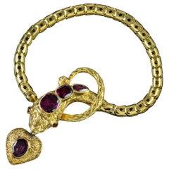 Antique Georgian Almandine Garnet Snake 18 Carat Gold Heart Locket Bracelet