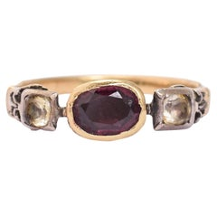 Antique Georgian Almandine Garnet White Paste Ring