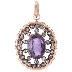 Sylva & Cie Antique Georgian Amethyst and Diamond Pendant in 14k Rose Gold