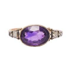 Antique Georgian Amethyst Diamond Solitaire Ring