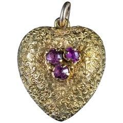 Antique Georgian Amethyst Heart Pendant 18 Carat Gold, circa 1800