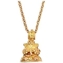 "Antique Georgian Amethyst ""NEWS"" Intaglio Seal Fob Pendant Necklace"