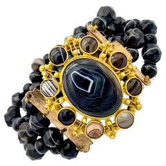 Antique Georgian Banded Agate Sardonyx Beads Bracelet Metal Pinchbeek Clasp