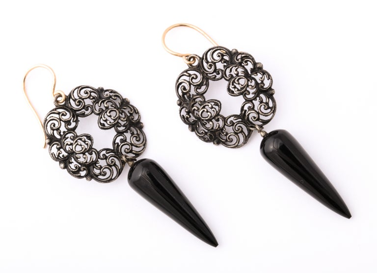 George III Antique Georgian Berlin Iron and Onyx Earrings For Sale