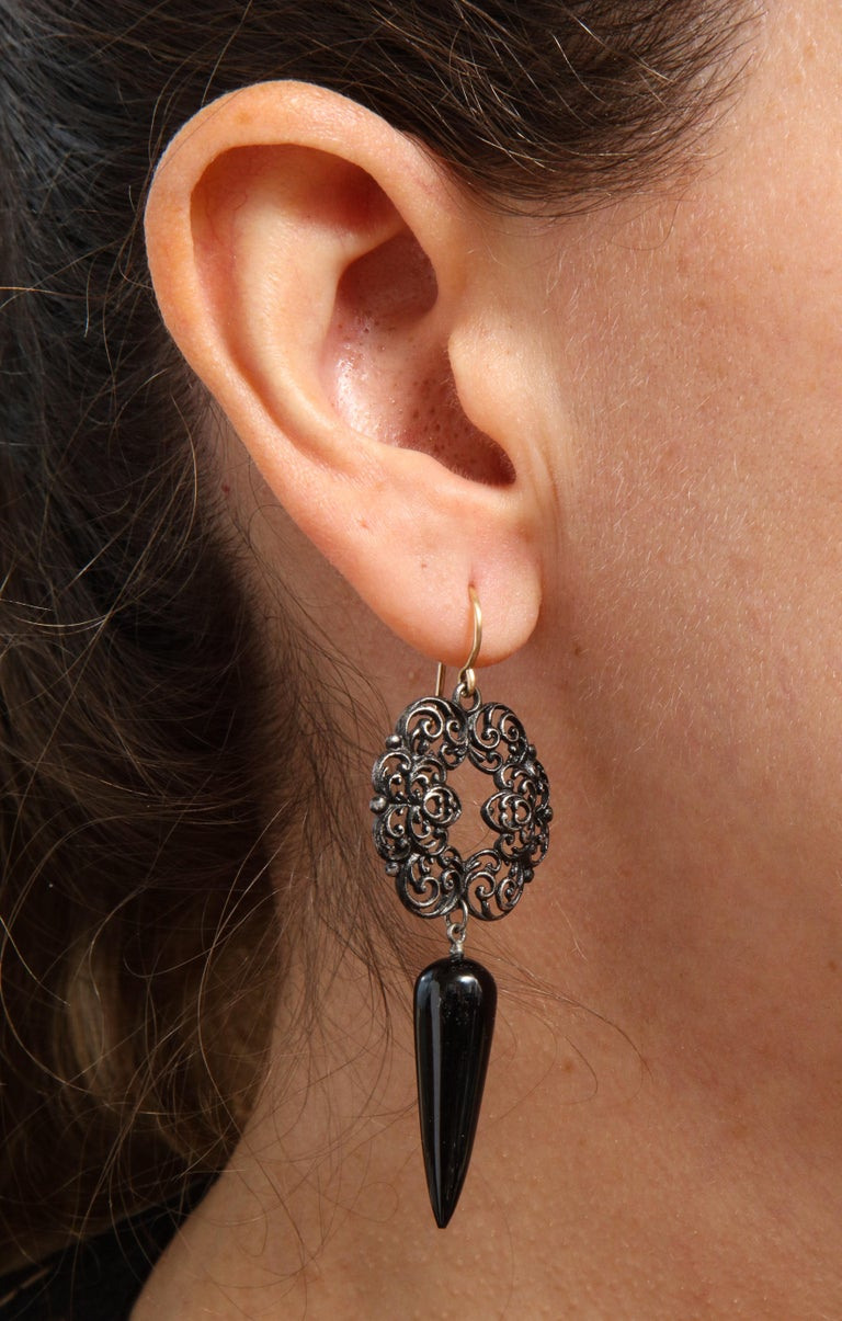 Women's or Men's Antique Georgian Berlin Iron and Onyx Earrings For Sale