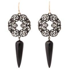 Antique Georgian Berlin Iron and Onyx Earrings