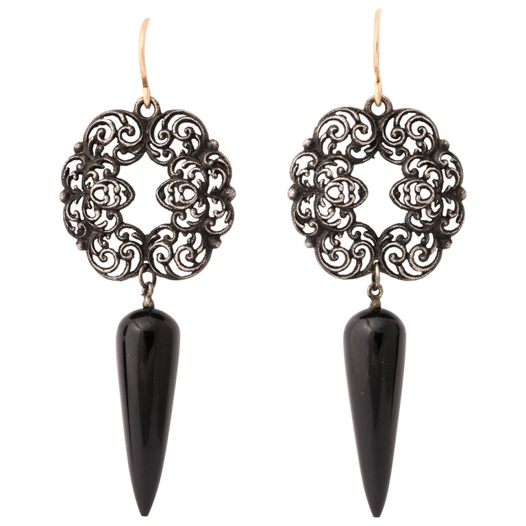 Antique Georgian Berlin Iron and Onyx Earrings For Sale