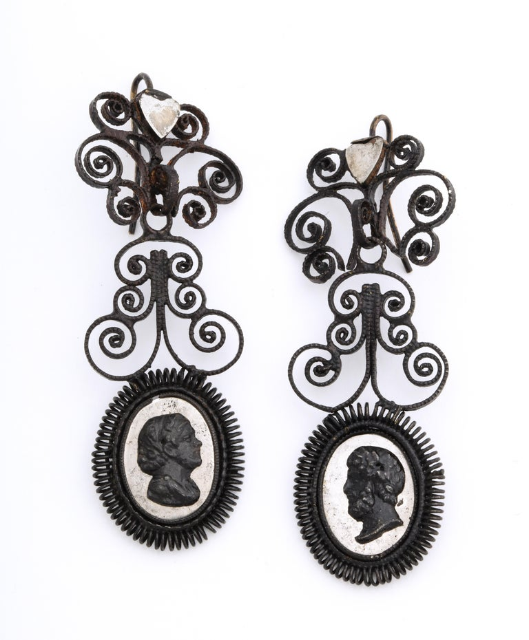 Happy Birthday to these fabulous Georgian Berlin Iron earrings that are 200 years old this year. Berlin Iron jewelry in excellent condition is rare, even in the museums of the world. The earrings are in three sections, the top two being frilly fine