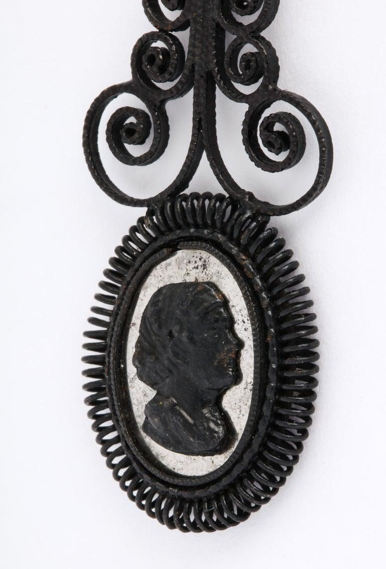 Women's Antique Georgian Berlin Iron Chandelier Earrings For Sale