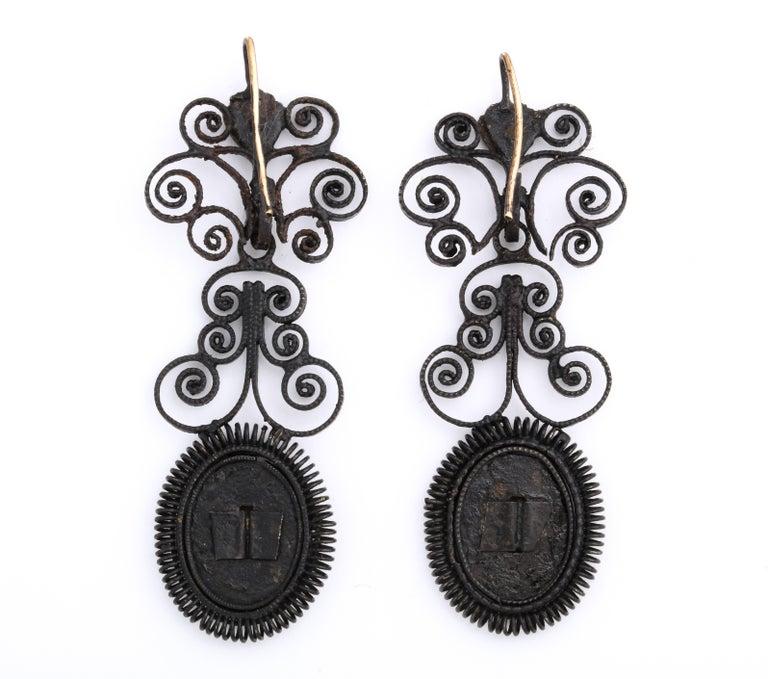 Antique Georgian Berlin Iron Chandelier Earrings For Sale 1