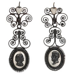 Antique Georgian Berlin Iron Chandelier Earrings