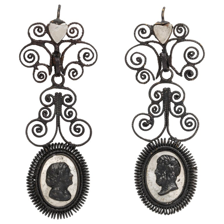 Antique Georgian Berlin Iron Chandelier Earrings For Sale