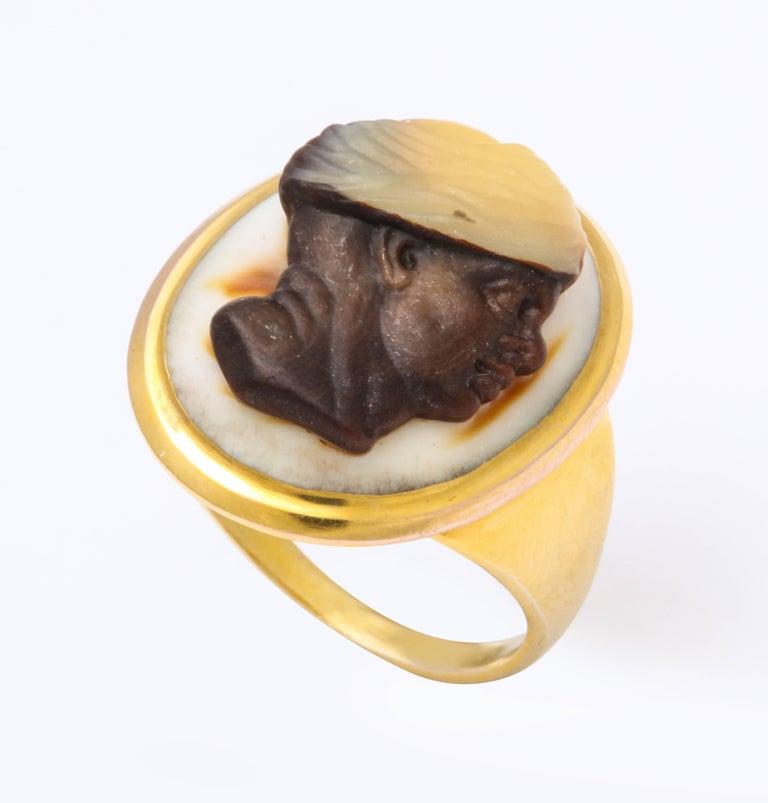 George III Antique Georgian Fine Cameo Ring of a Blackamoor For Sale